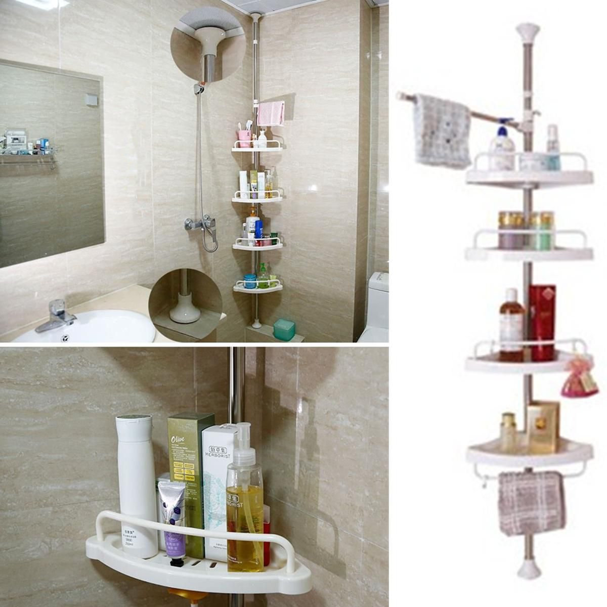 Buy 4 Tier Adjustable Telescopic Bathroom Corner Shower Shelf Rack Caddy Organiser Wall Corner Rack Storage Holder Space Saving Online At Low Price In India Snapdeal