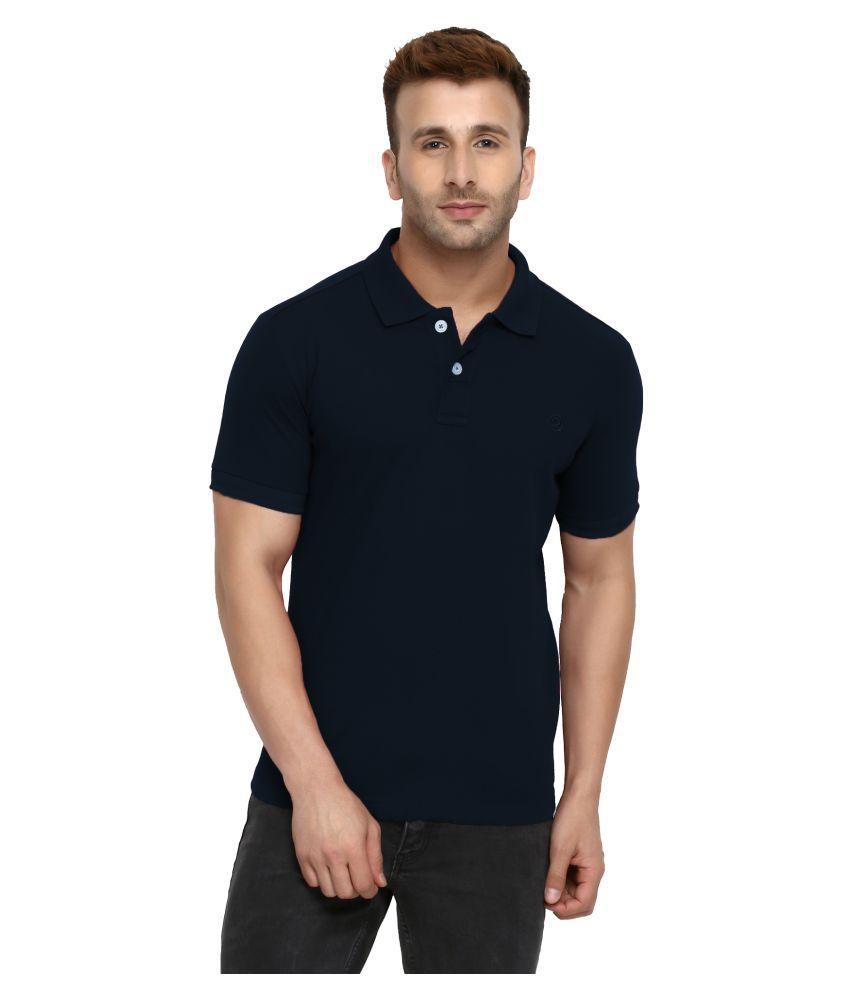CHKOKKO Cotton Men Half Sleeves Polo Neck T Shirt Navy Blue Color Size,5XL