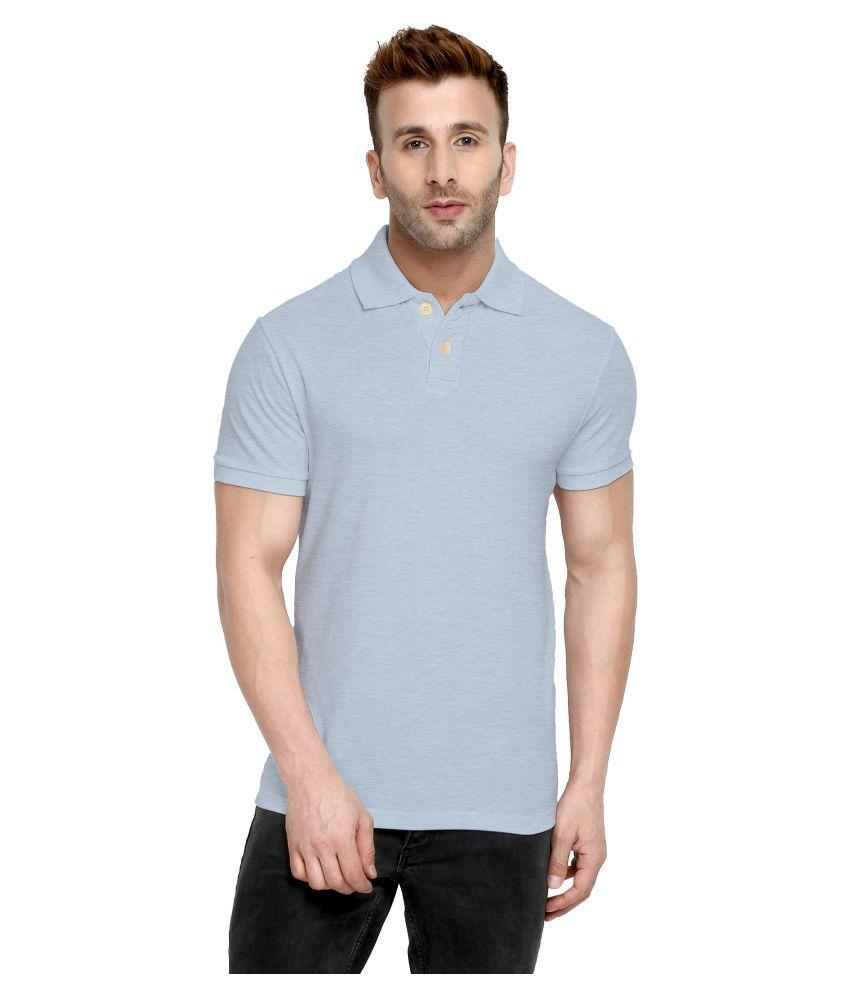 CHKOKKO Cotton Men Half Sleeves Polo Neck T Shirt Light Grey Color Size, 4XL