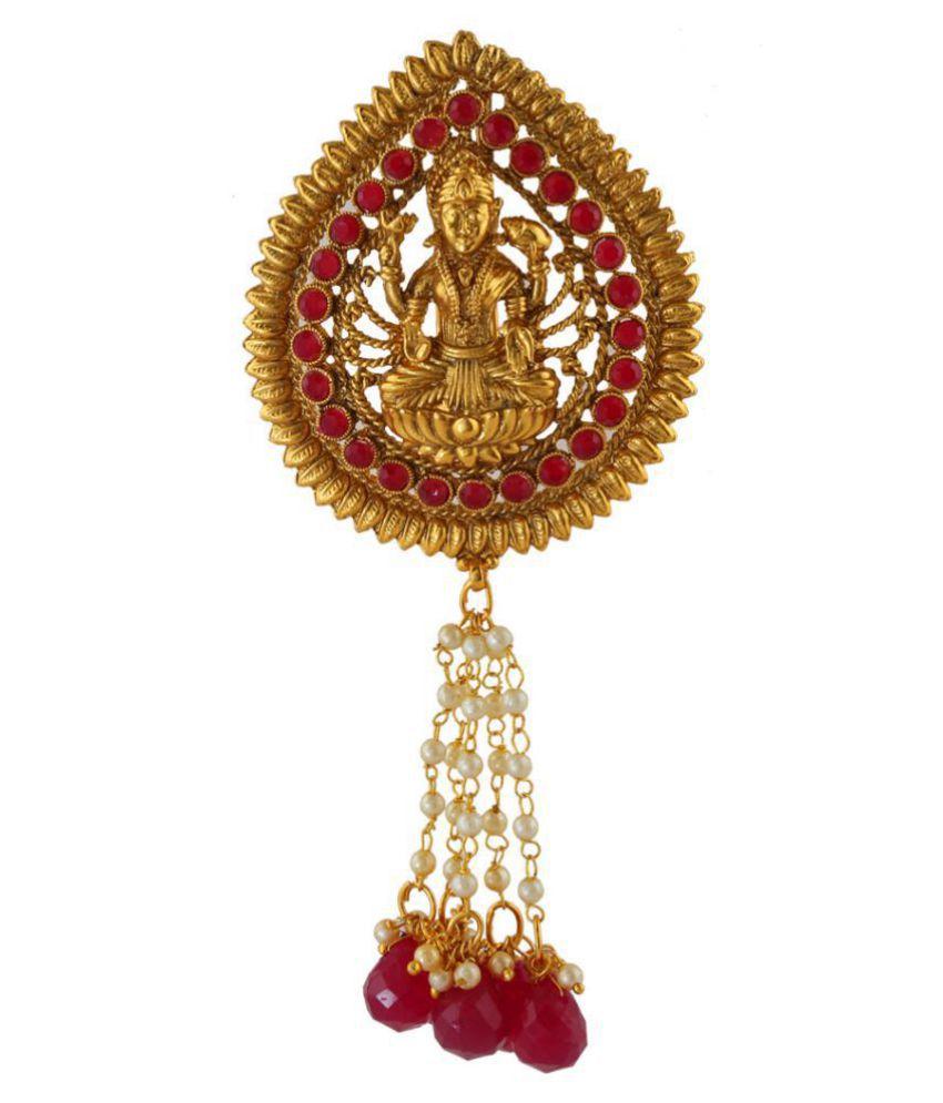 Anuradha Art Gold Finish Laxshmi Styled Wonderful Hair Brooch/Ambada Pin For Women/Girls