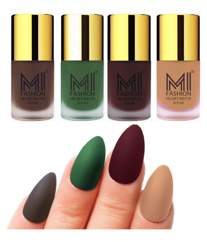 MI FASHION Dull Rough Velvet Matte Nail Polish Coffee,Green,Wine,Nude Matte 39.6 ml Pack of 4