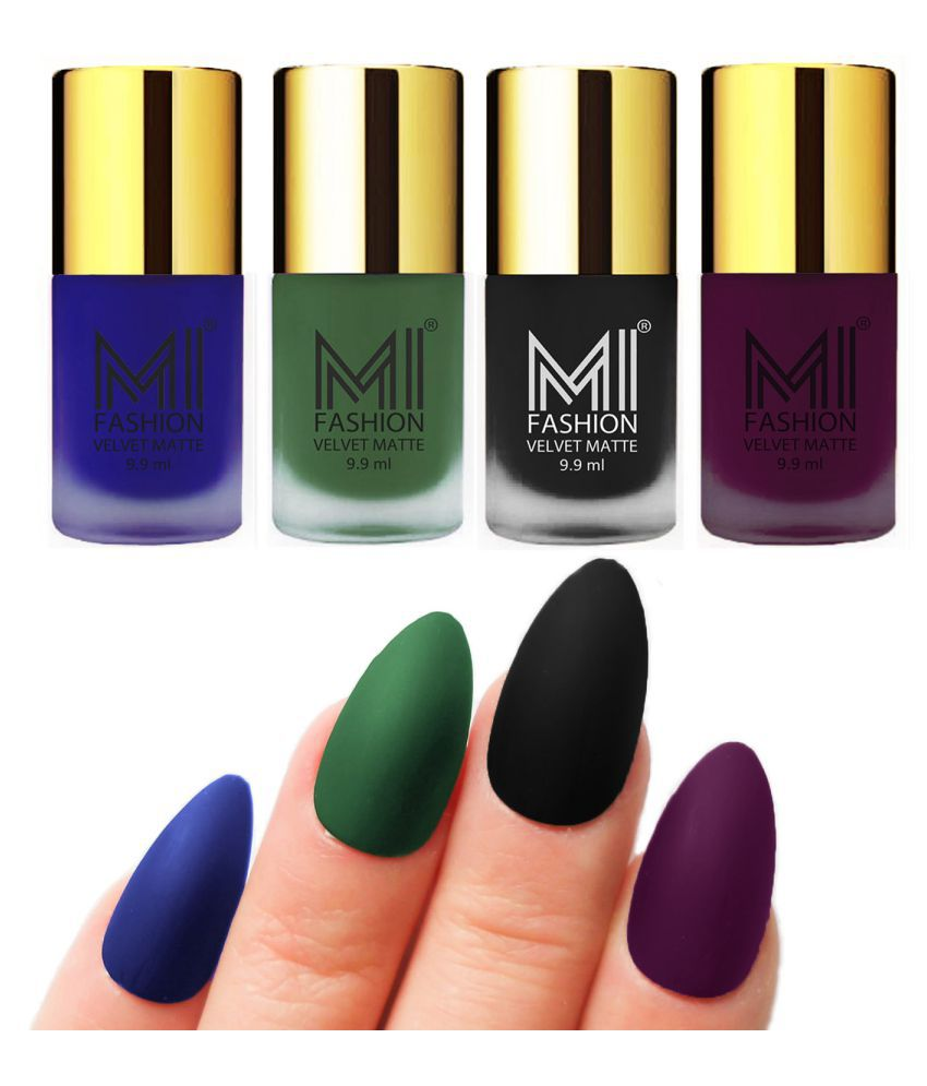 MI FASHION Dull Rough Velvet Matte Nail Polish Royal Blue,Green,Black,Purple Matte Pack of 4 mL