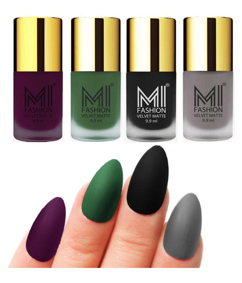 MI FASHION Dull Rough Velvet Matte Nail Polish Purple,Green,Black,Grey Matte 39.6 ml Pack of 4