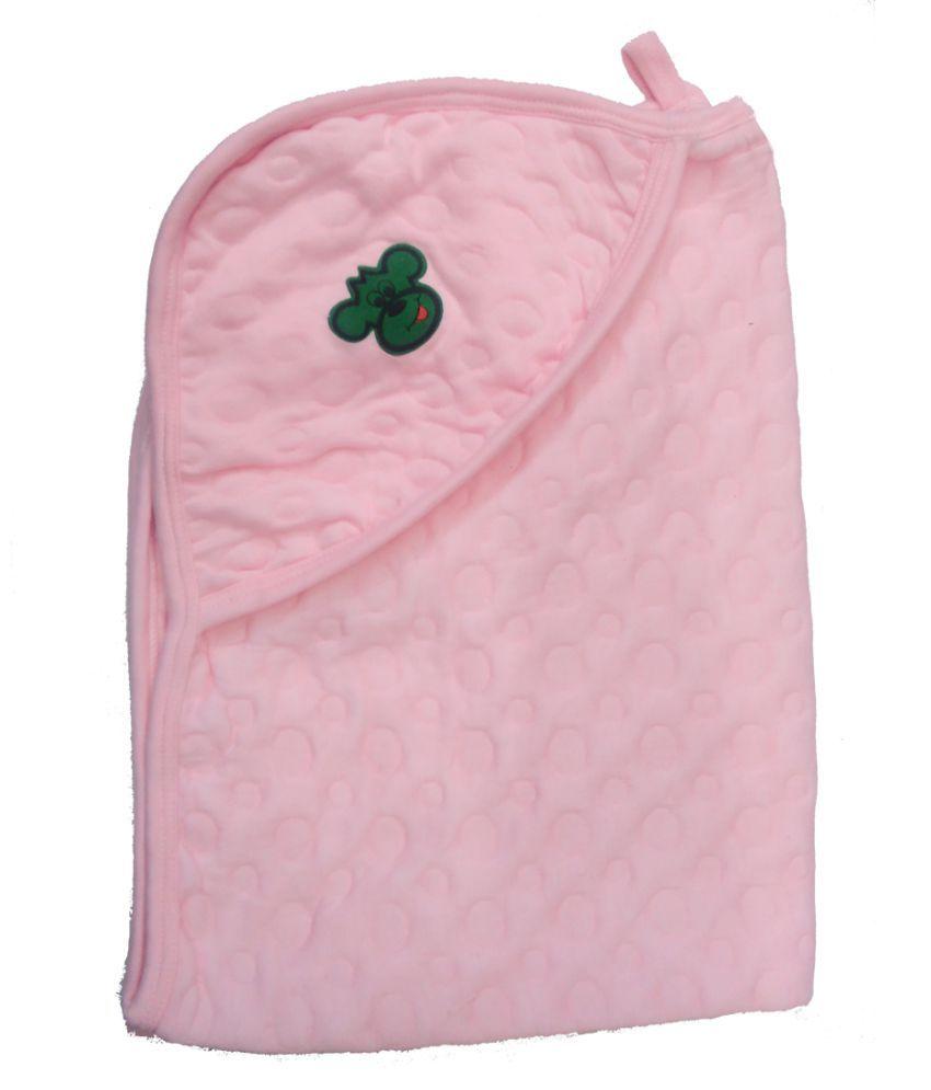 Baby Pink Cotton Baby Wrap cum blanket ( 92 cm × 67 cm - 1 pcs)
