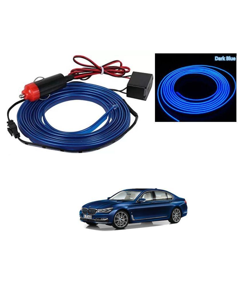 Auto Addict Blue Color 12V 5Mtrs Roll Cold Light Car Socket Strip Neon Lamp EL Wire Decor Interior Lighting For BMW 7 Series