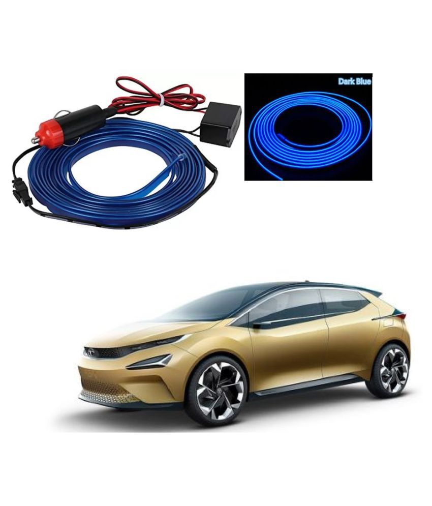 Auto Addict Blue Color 12V 5Mtrs Roll Cold Light Car Socket Strip Neon Lamp EL Wire Decor Interior Lighting For Tata 45X