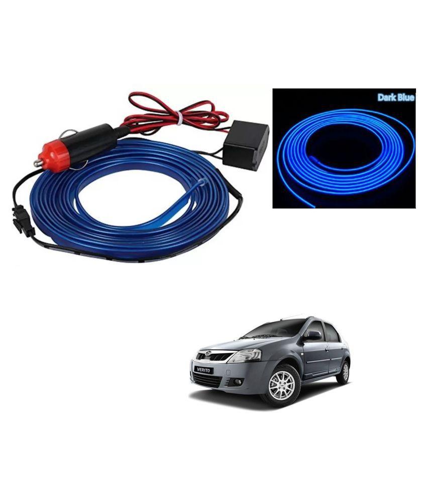 Auto Addict Blue Color 12V 5Mtrs Roll Cold Light Car Socket Strip Neon Lamp EL Wire Decor Interior Lighting For Mahindra Verito