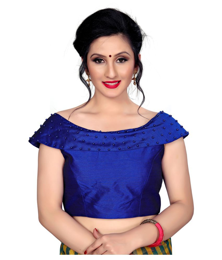 Amrutam Fab Blue Silk Readymade with Pad Blouse