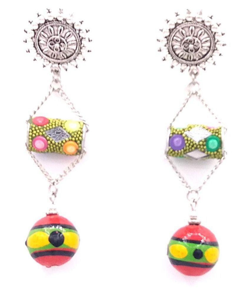 Woman Fashion Drop Round Wood Beads Earrings
