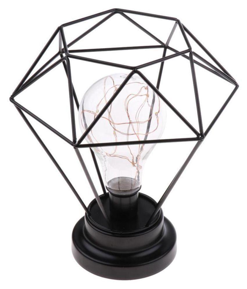 Retro Iron Geometric LED Light Home Bedroom Bulb Table Lamp Battery Powered