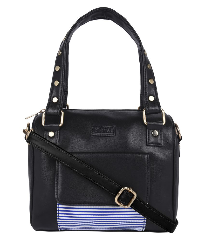 Horra Black P.U. Satchel Bag