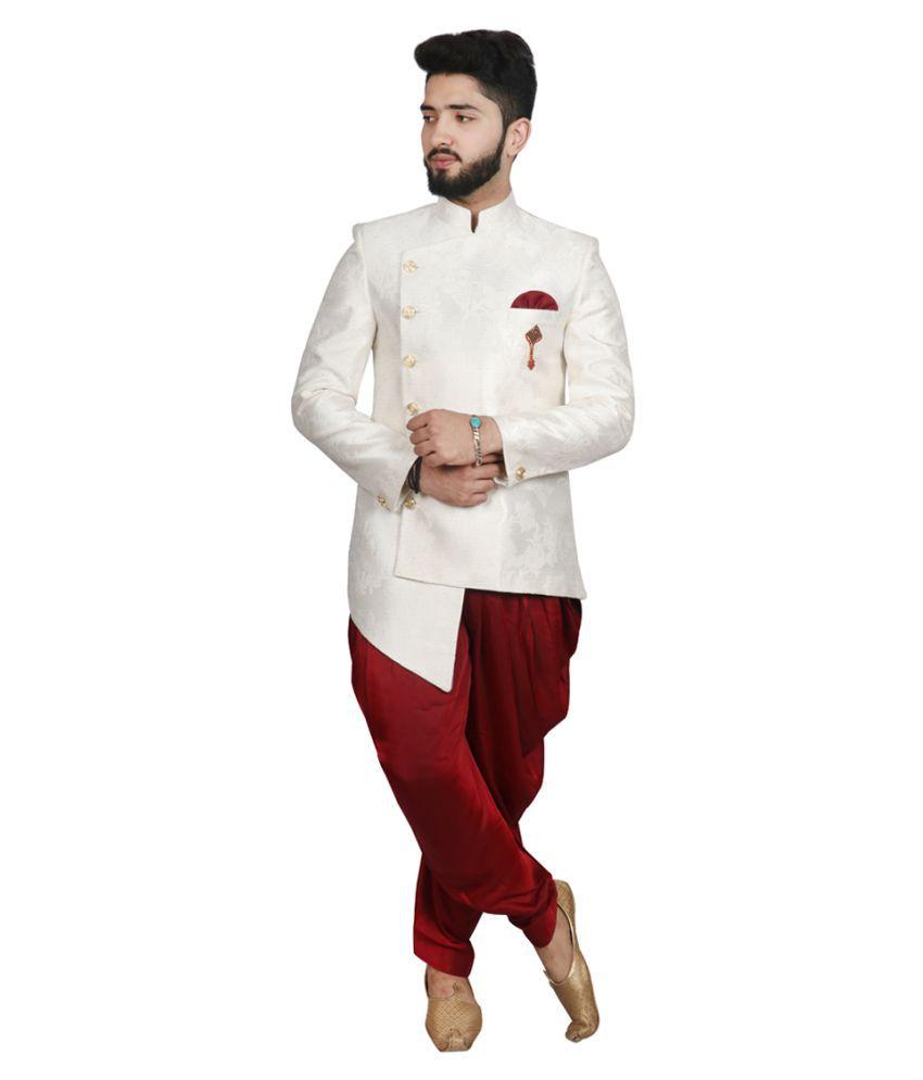 SG RAJASAHAB White Polyester Blend Sherwani
