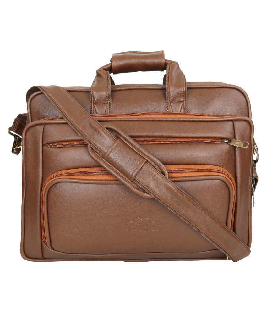 Leather Gifts Laptop Office bag Tan P.U. Office Bag