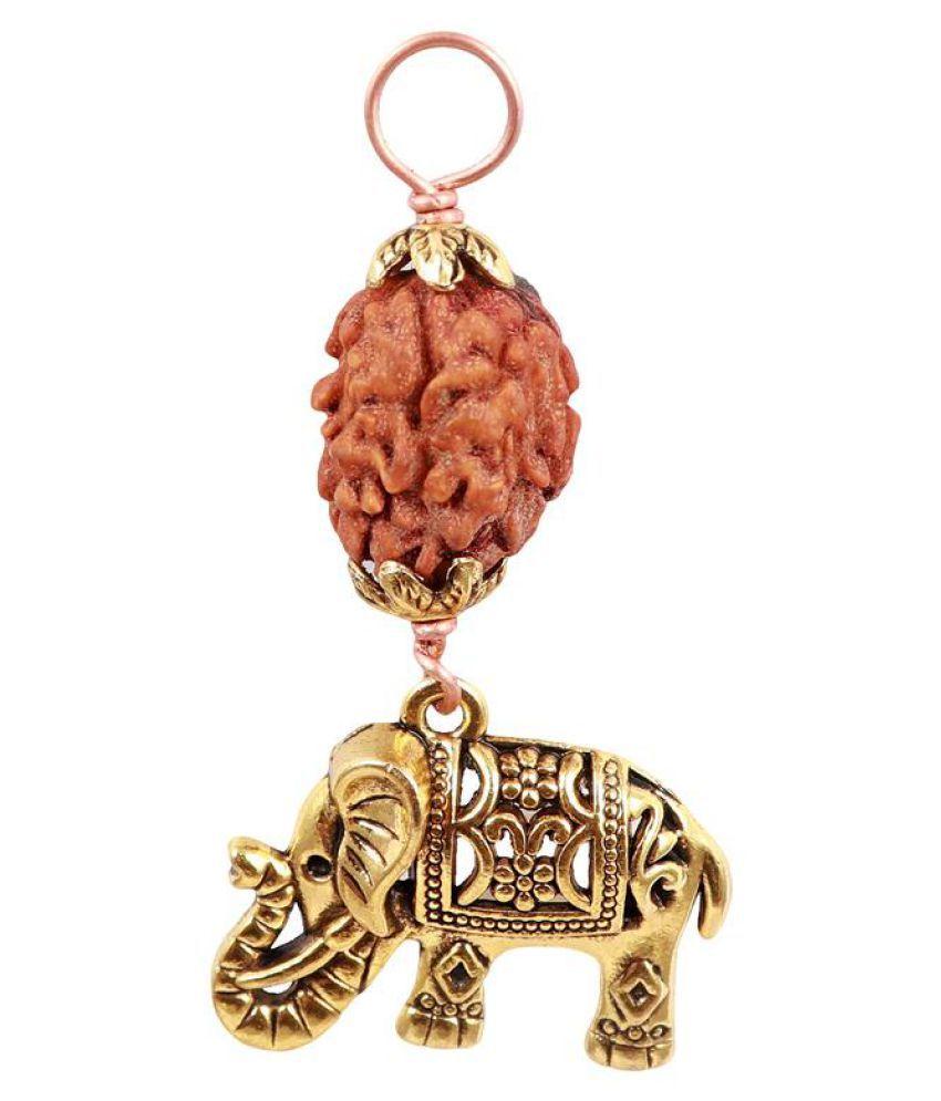 Rudra Blessings 2 Mukhi Rudraksha with Lucky Charm Elephant