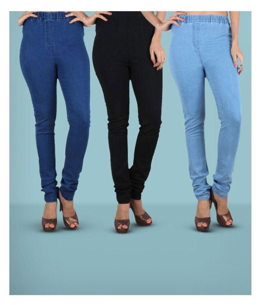66a3b57fc3eabe Buy Trusha Dresses Denim Jeggings - Multi Color Online at Best Prices in  India - Snapdeal
