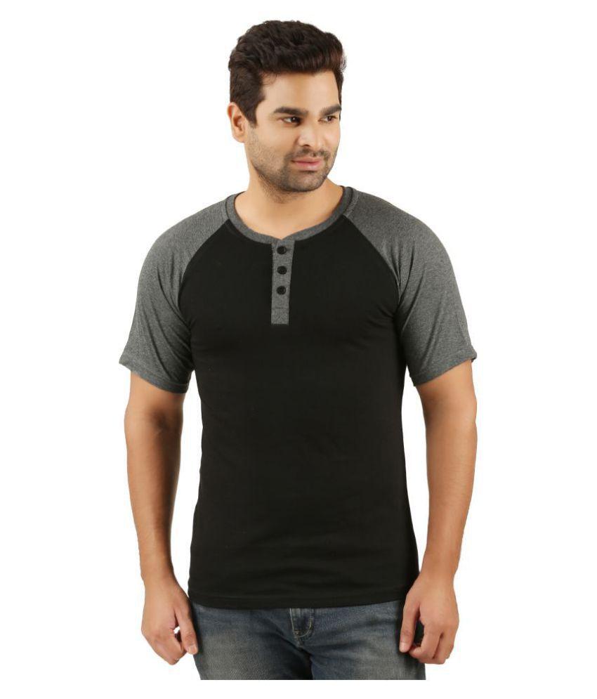 Tees Park Black Half Sleeve T-Shirt Pack of 1