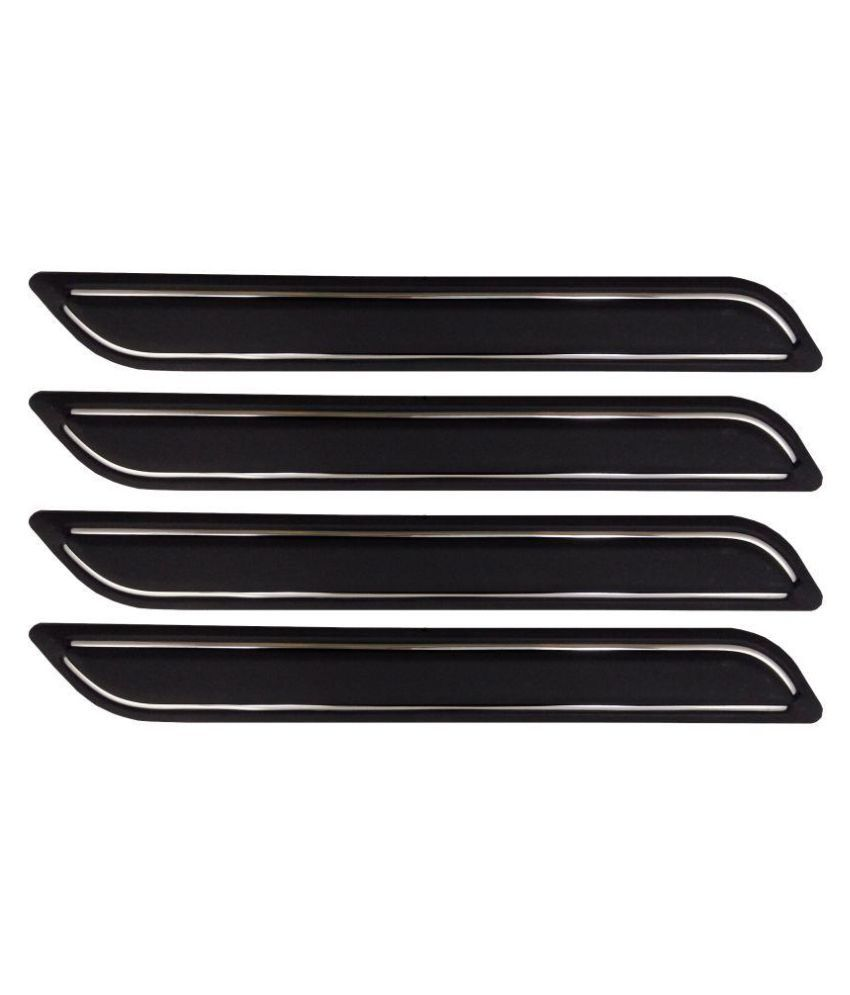 Ek Retail Shop Car Bumper Protector Guard with Double Chrome Strip (Light Weight) for Car 4 Pcs  Black for VolkswagenVentoHighlineDiesel