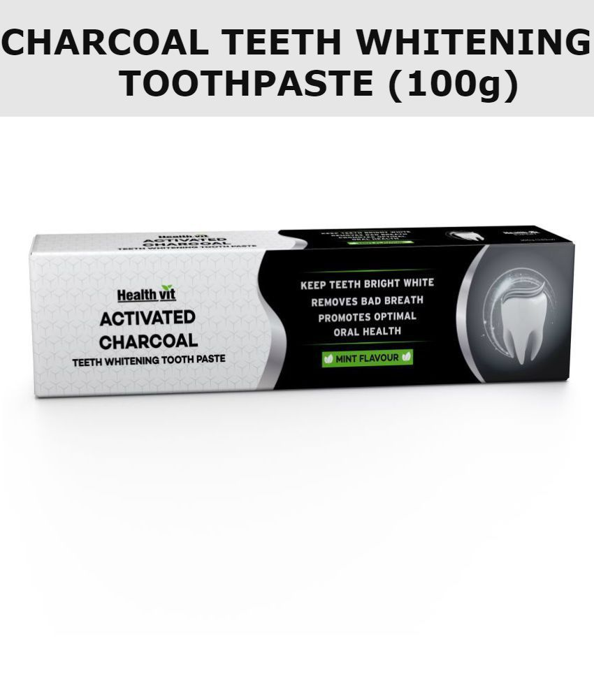 Healthvit Activated Charcoal Toothpaste For Teeth Whitening Best Natural Whitener, Fluoride Free 100g Sulfate Free Mint Flavour