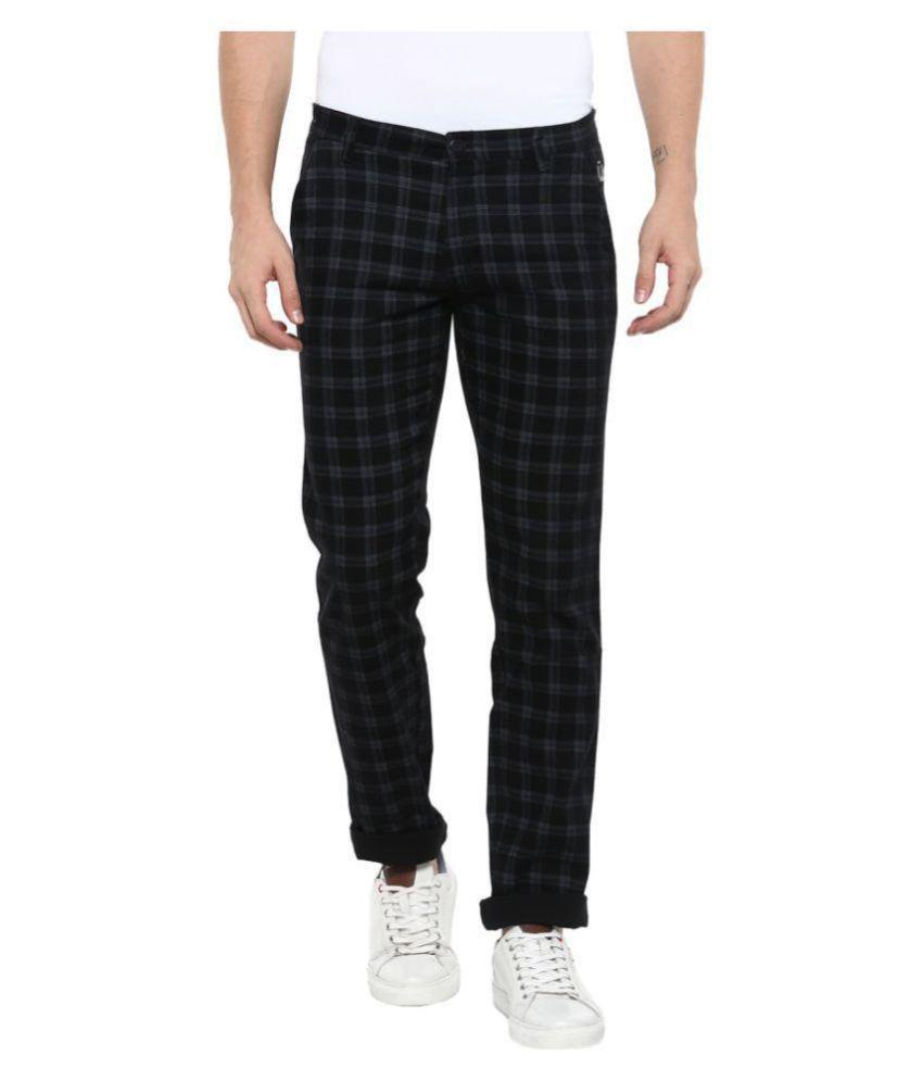 Urbano Fashion Black Slim -Fit Flat Chinos