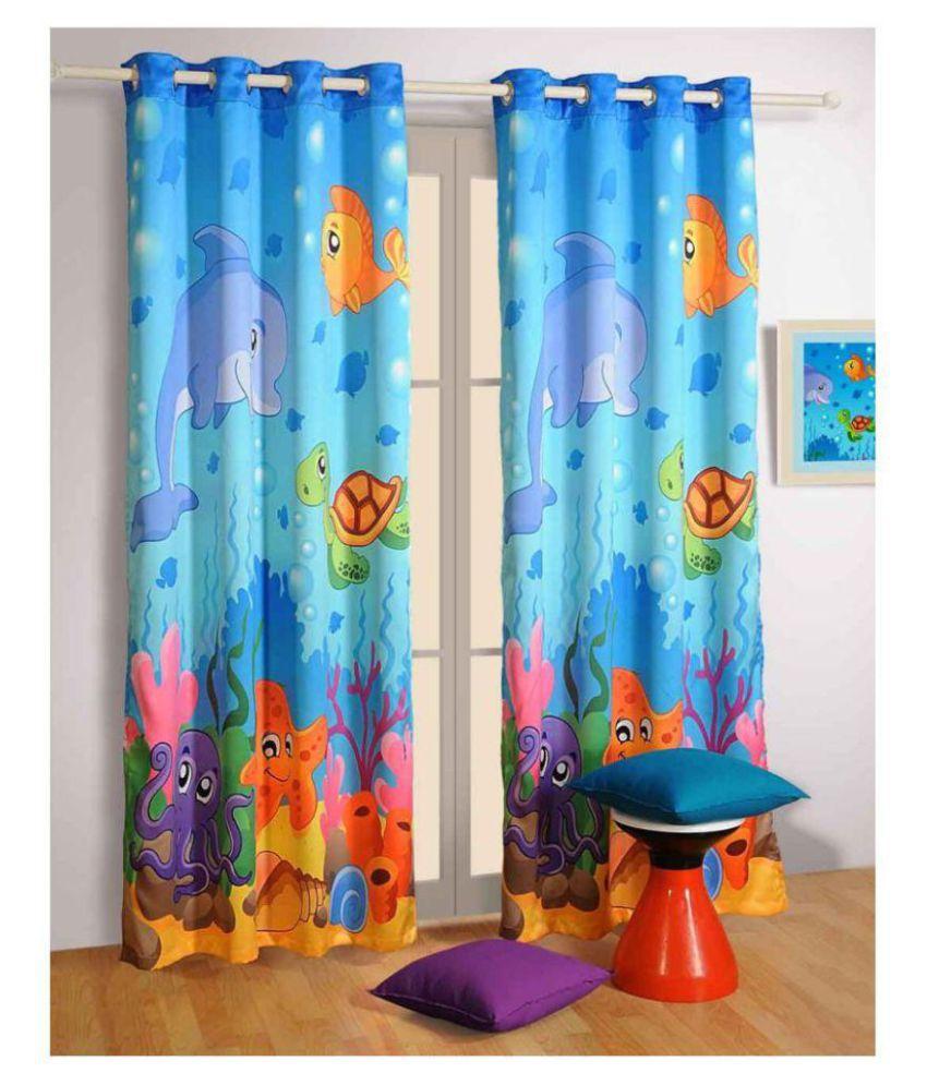 GVR FASHION Set of 2 Window Blackout Room Darkening Eyelet Polyester Curtains Blue