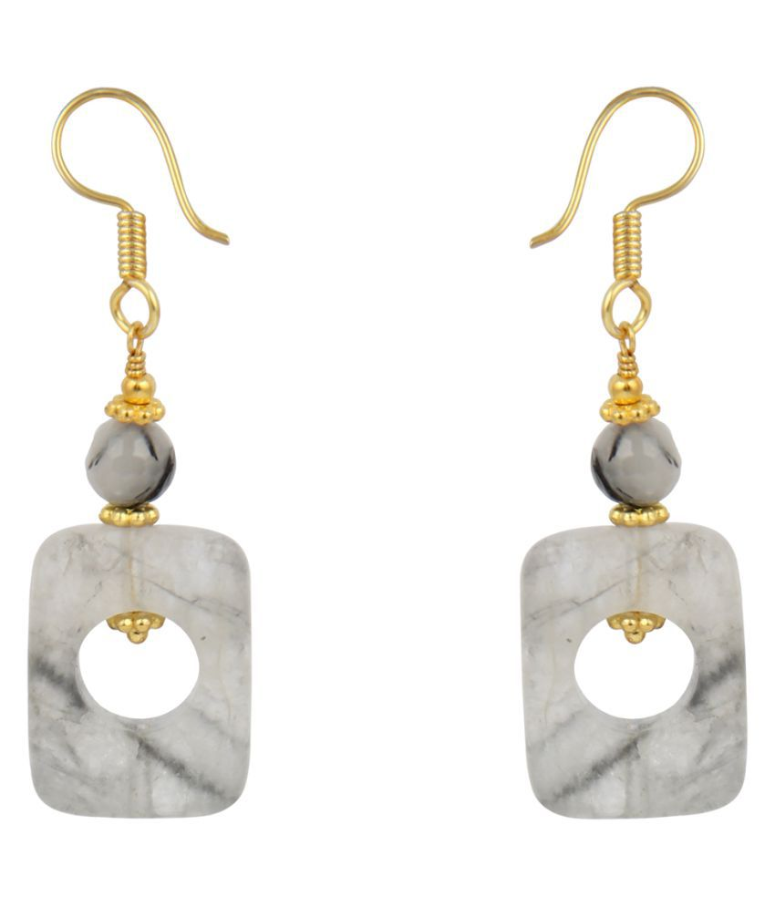 Pearlzgallery's Rutilated Quartz in Round Shape Earring with Alloy Gold Plated for Women