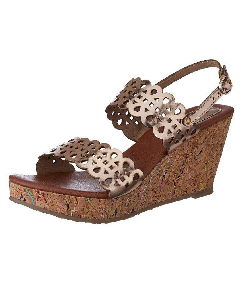 Bata Gold Wedges Heels
