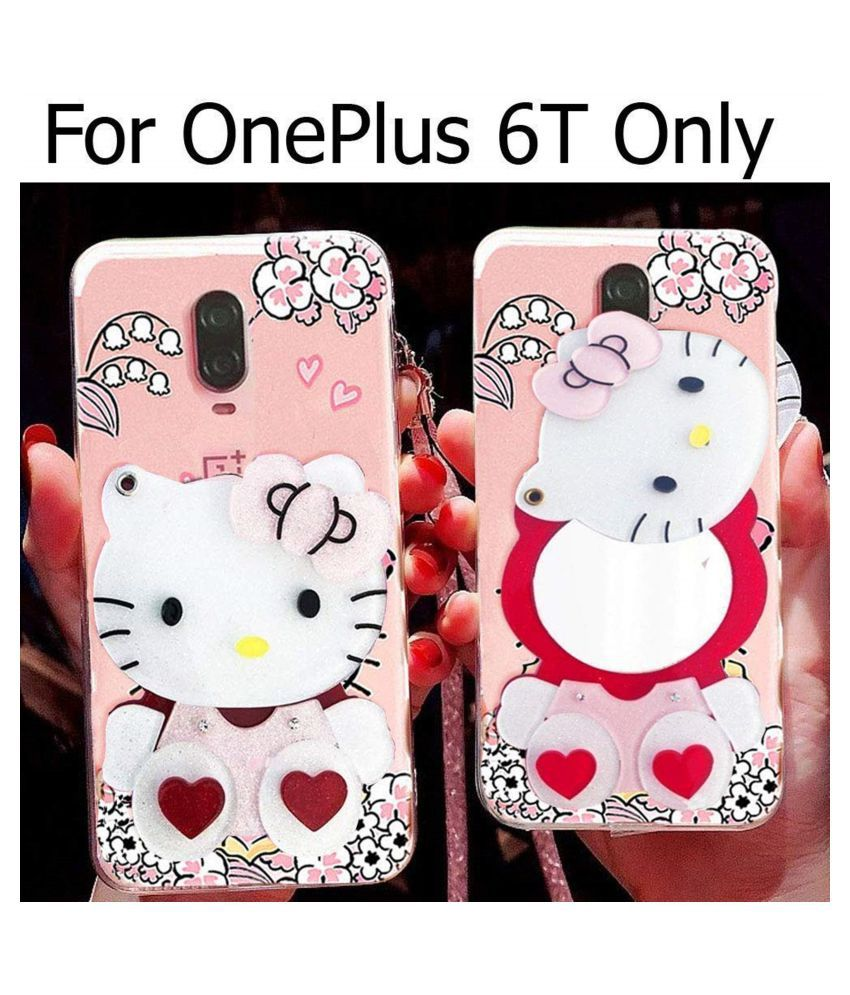 OnePlus 6T Soft Silicon Cases FancyArt - Multi Makeup Mirror Kitty Back Cover