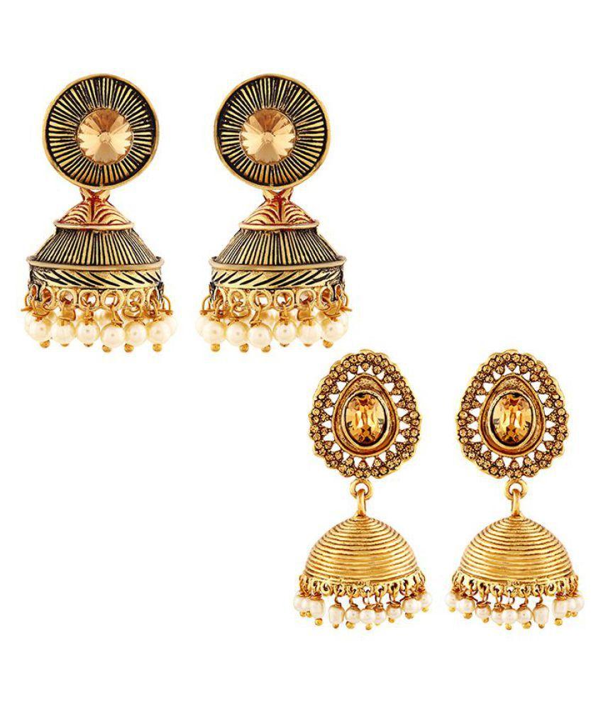 Asmitta Delightful Jhumki Gold Plated Combo Of 2 Earring For Women