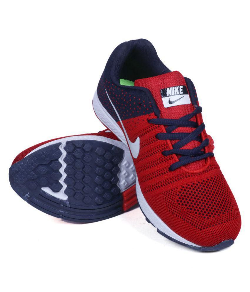 red blue nike shoes