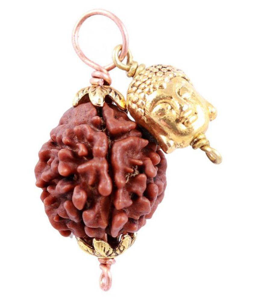 Rudra Blessings 3 Mukhi Rudraksha from Nepal with Lucky Charm Lord Buddha