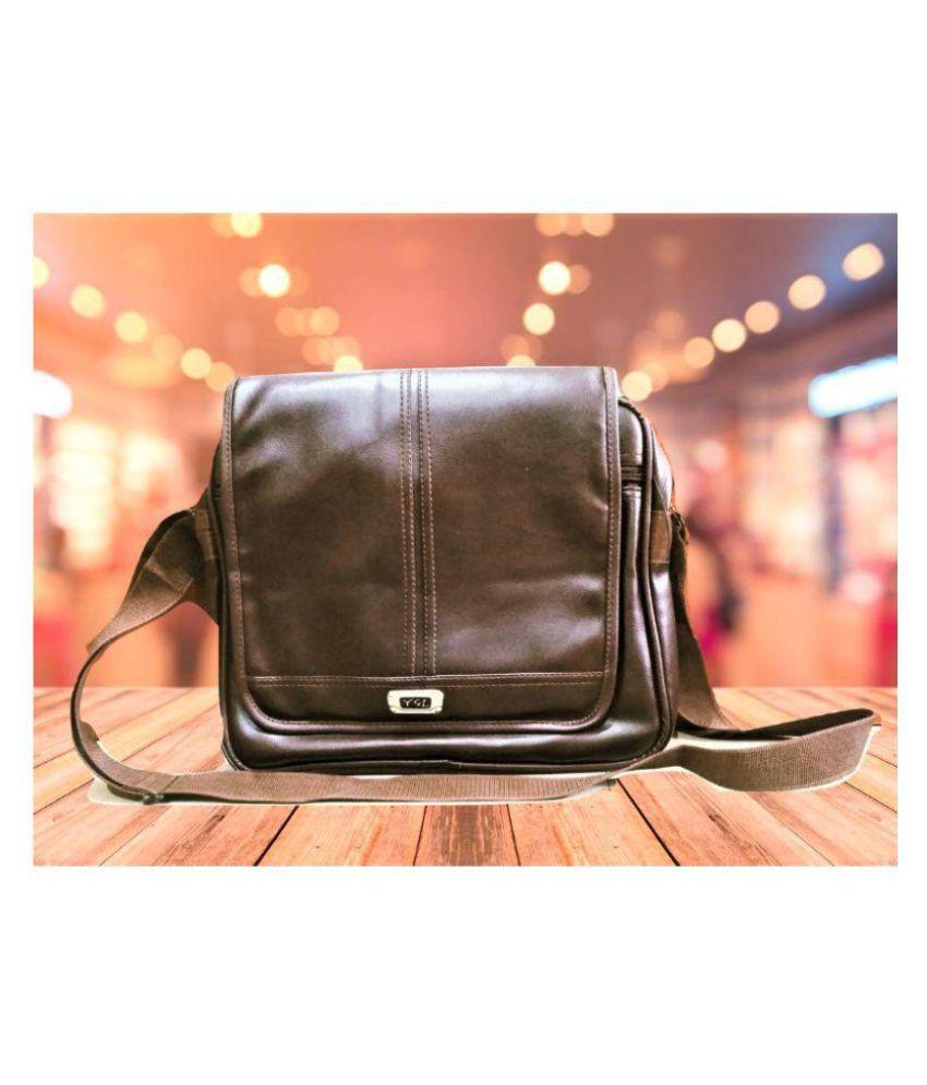 YGL New Brown P.U. Casual Messenger Bag
