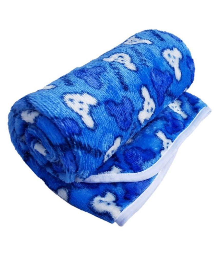 Brandonn Blue Flannel Baby Wrap cum blanket ( 102 cm × 76 cm - 1 pcs)