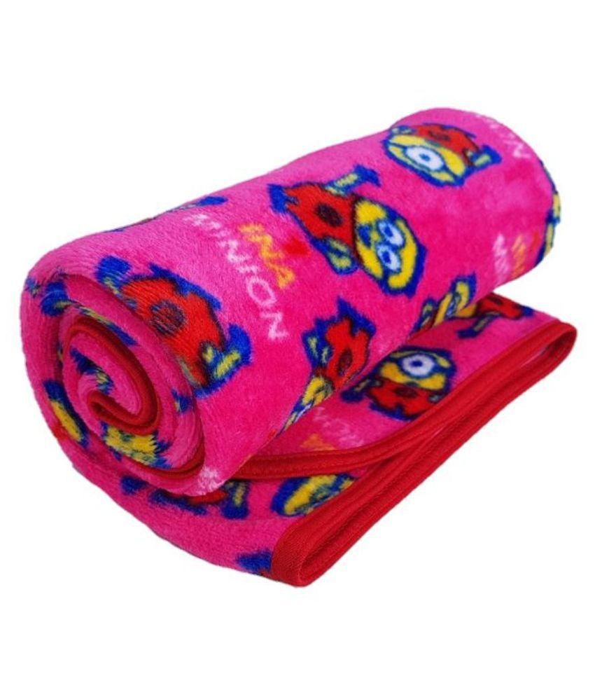 Brandonn Pink Flannel Baby Wrap cum blanket ( 102 cm × 76 cm - 1 pcs)