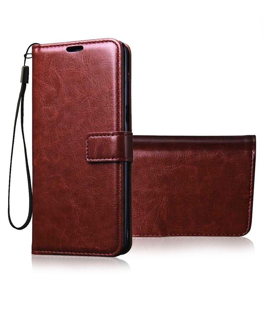 Vivo Y95 Flip Cover by Lejaao - Brown Leather Flip Cover