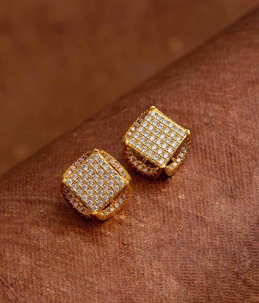 Voylla Gems Adorned Square Stud Earrings