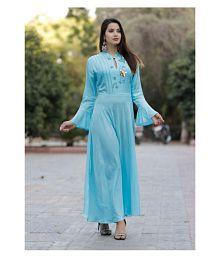 Sushil Garments Blue Rayon A-line Kurti