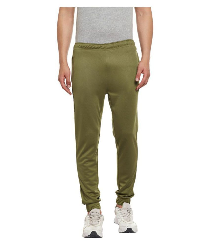 Alcis Men Solid Olive Track Pant