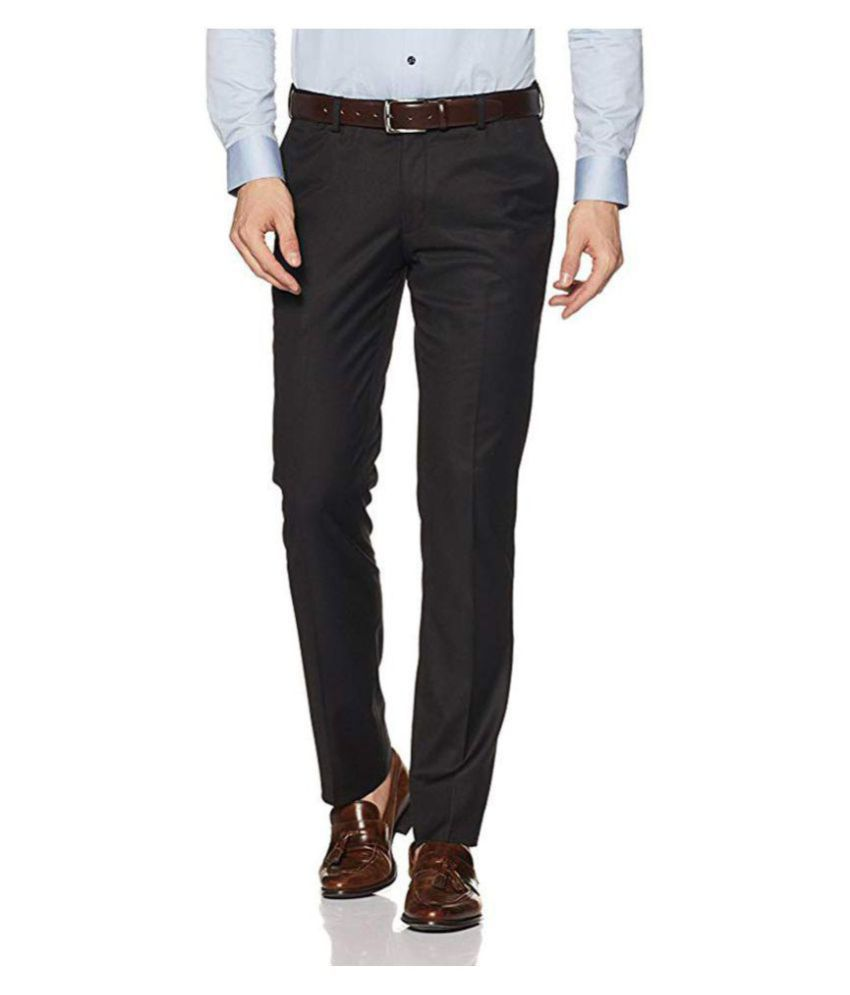 Cliths Black Slim -Fit Flat Trousers