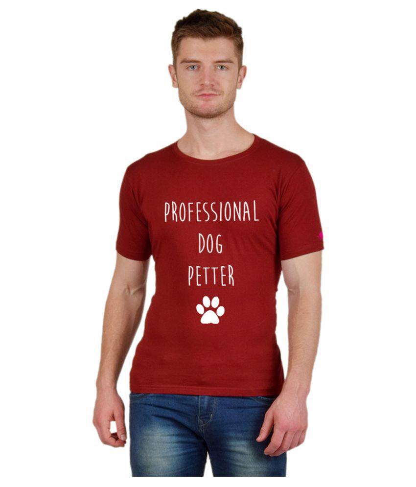 PrintOctopus Maroon Half Sleeve T-Shirt Pack of 1