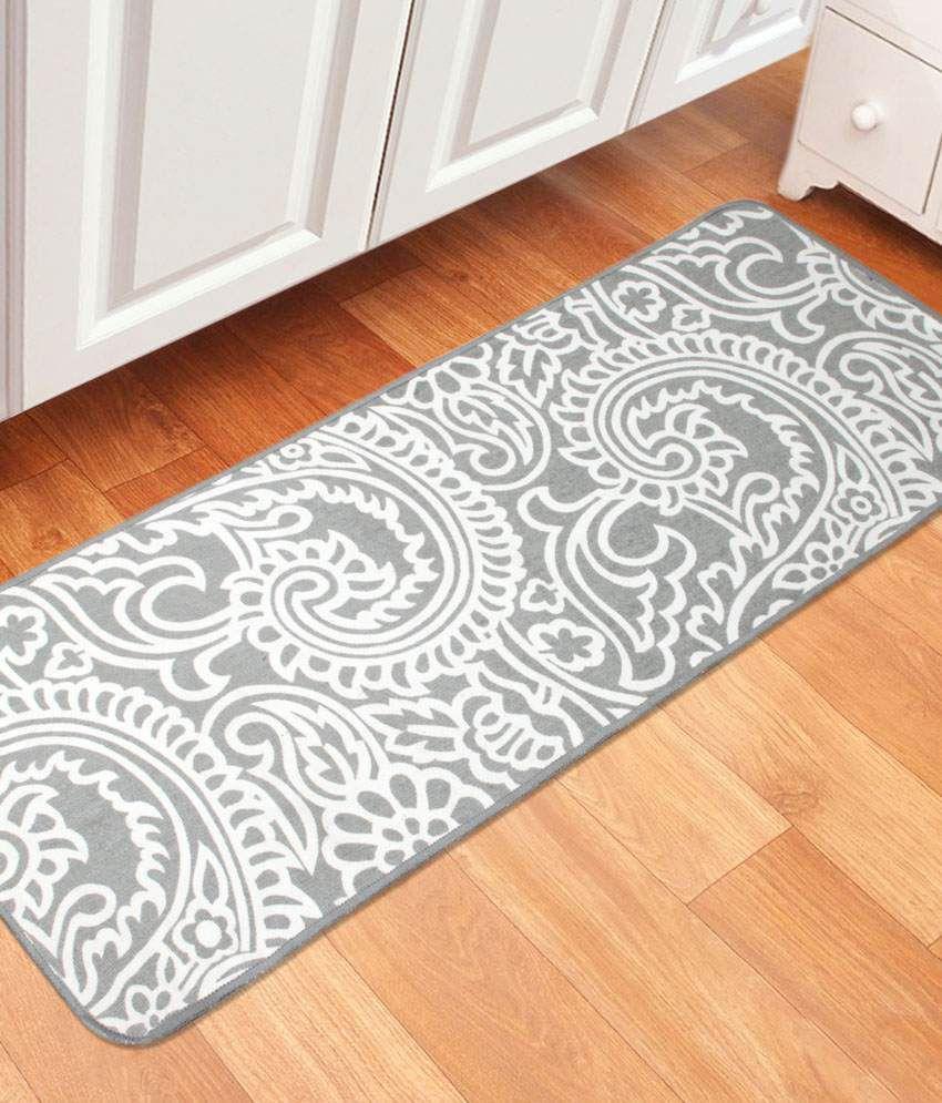 Saral Home Gray Single Anti-skid Floor Mat