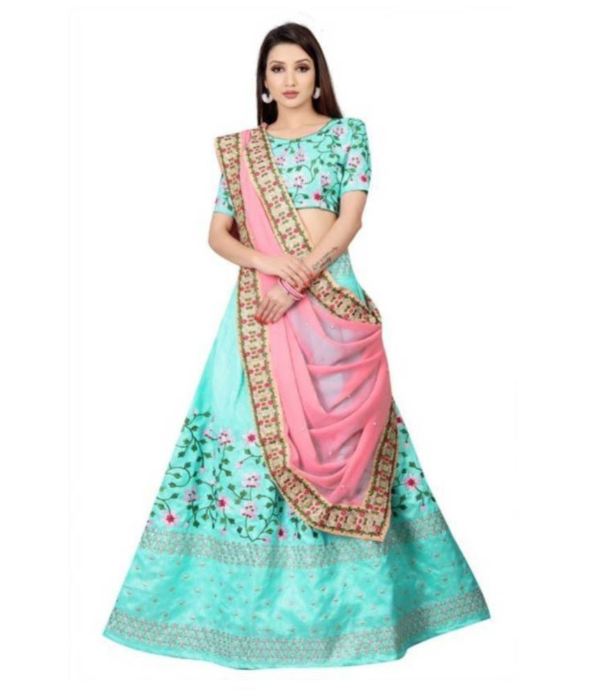 7eda45fc26 Vkaran Turquoise Bangalore Silk Circular Semi Stitched Lehenga - Buy Vkaran  Turquoise Bangalore Silk Circular Semi Stitched Lehenga Online at Best  Prices in ...