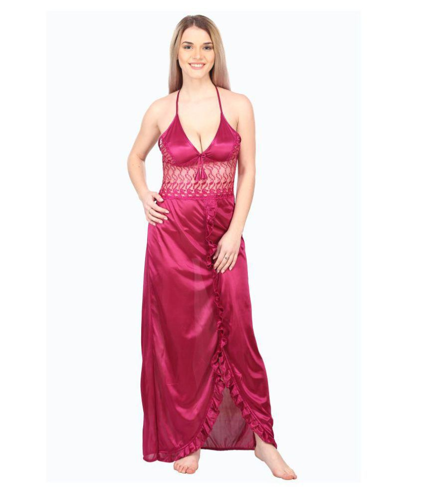 A2Z TRADING Satin Nighty & Night Gowns - Maroon