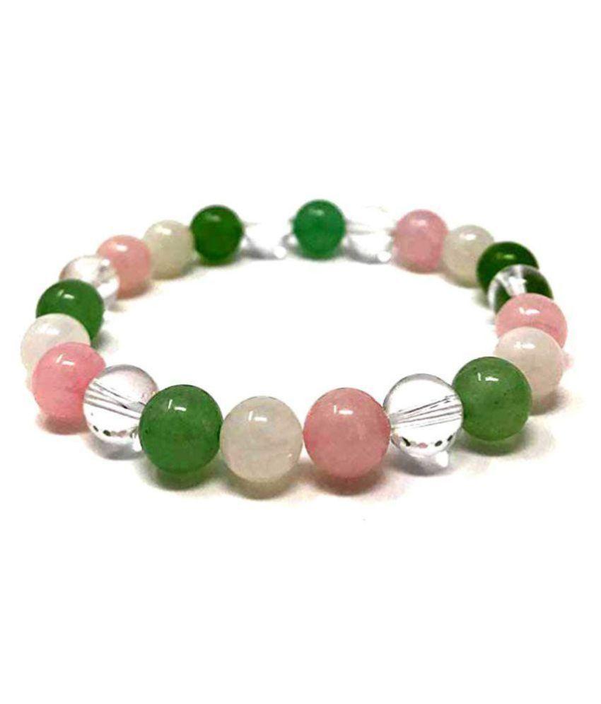 Clear Quartz Rose Quartz and Green Aventurine 8 MM Stretch Bracelet