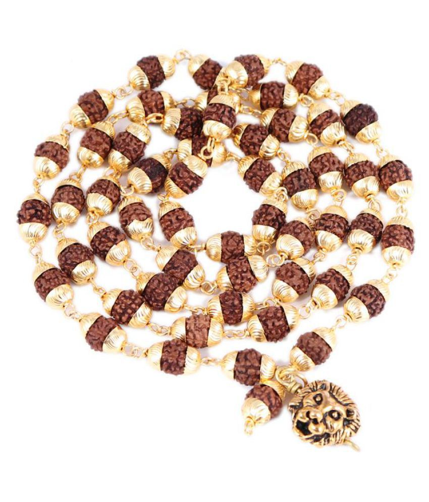 Rudra Blessings 5 Mukhi Rudraksha Mala in Silver Plated caps with lucky charm Lion Pendant