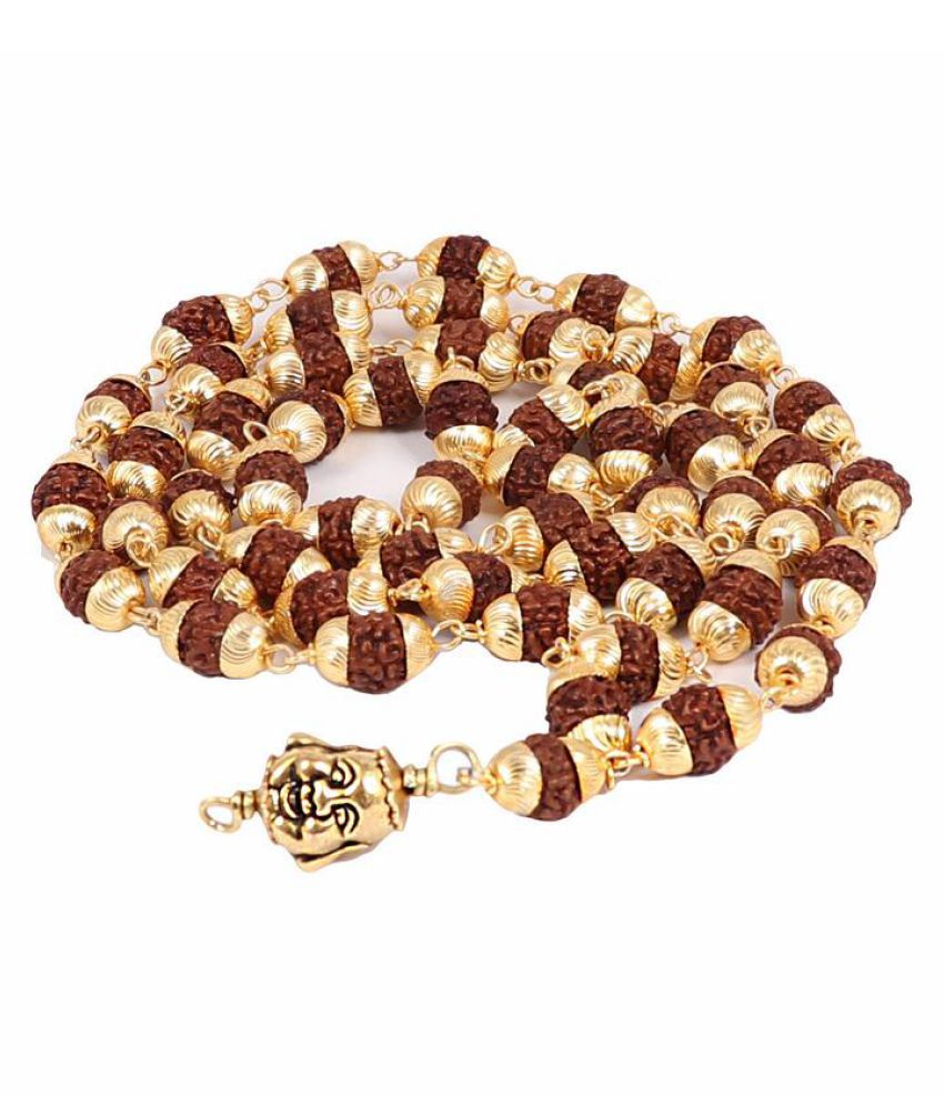 Rudra Blessings 5 Mukhi Rudraksha Mala in Gold Plated caps with lucky charm Laughing Buddha Pendant