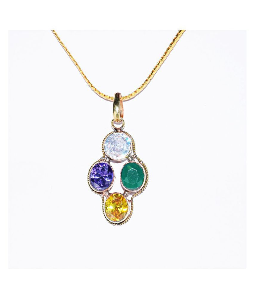 Aries Zodiac Mesh Rashi Rudra Divine Self Certified Multicolor Prosperity Gemstone Pendant For Unisex
