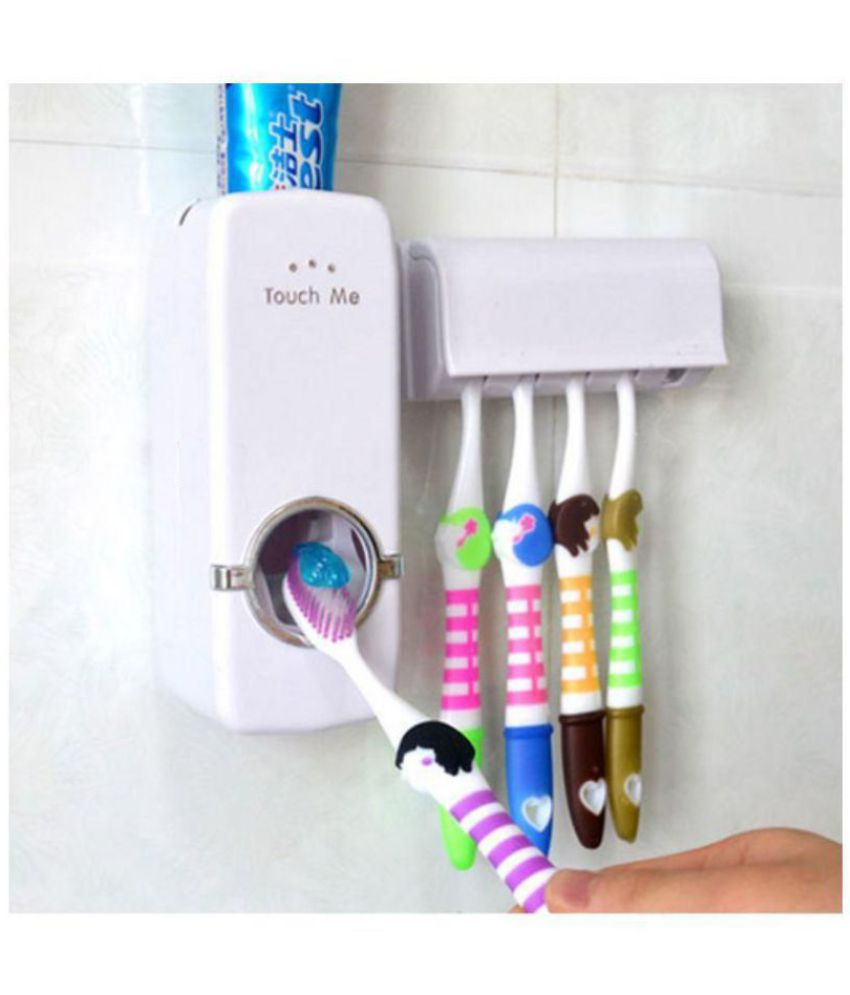 BathSense ABS Toothpaste Dispenser With Wall Mounted ToothBrush Holder/Toothbrush Stand