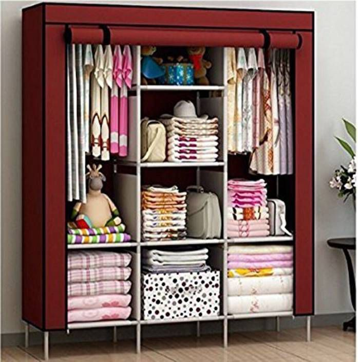 Multipurpose Collapsible and portable triple door Foldable Wardrobe/Cloth Stand/ Cloth Rack / Foldable Almirah/ Cupboard (Color As Per Stock Available)