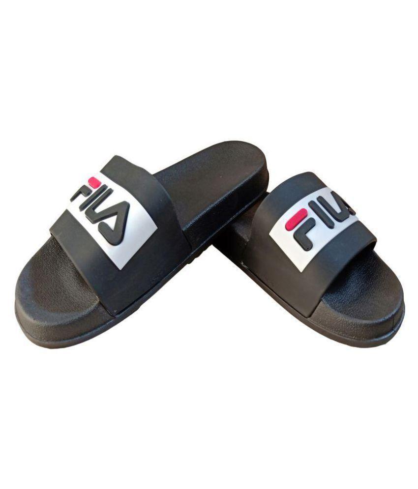 723b7557bfd8 Fila Black Slide Flip flop Price in India- Buy Fila Black Slide Flip flop  Online at Snapdeal