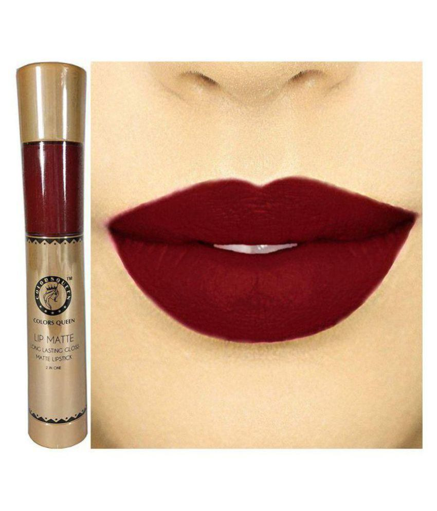 COLORS QUEEN 2 In 1 Matte Lip Gloss and Lipstick | Shimmer Mehroon Shade